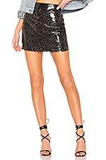 MAJORELLE Medina Vinyl Mini Skirt in Leopard