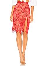 MAJORELLE Estella Midi Skirt in Scarlet Red