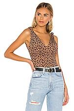 MAJORELLE Kiana Bodysuit in Tan Leopard