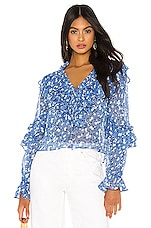 MAJORELLE Gianna Top in Blue Ditsy