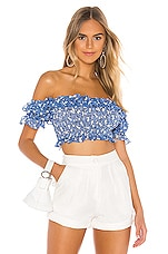 MAJORELLE Everly Top in Blue Ditsy