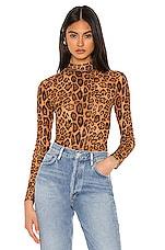 MAJORELLE Stevie Bodysuit in Tan Leopard
