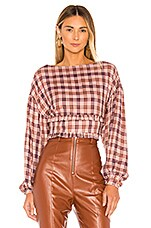 MAJORELLE Asa Top in Pink Plaid