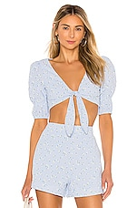 MAJORELLE Devonshire Top in Baby Blue Ditsy