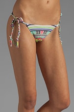Braided Tie-Side Bikini Bottom in Electric Casino Stone