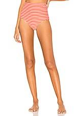 Mara Hoffman Lydia Bikini Bottom in White Red