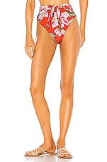 Mara Hoffman Goldie High Waist Bikini Bottom in Red Multi