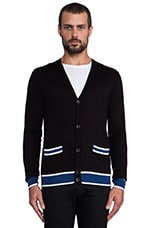 Cashmere Cardigan Sweater in Black Multi