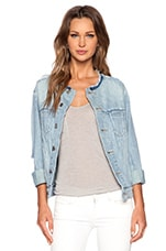 Icon Collarless Jacket in Cloud Blue Ripped