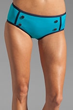 Woodward Solids Buttoned Hipster Bottom in Dark Lucid Aqua