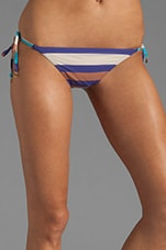 Vintage Stripe Pleated Side Tie Euro Bottom in Violet Bloom