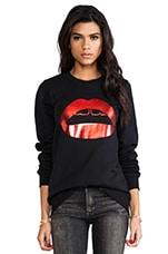 Markus Lupfer Red Foil Rubber Lip Sweatshirt in Black