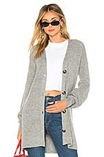 Marled x Olivia Culpo Blouson Sleeve Cardigan in Grey