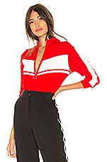 Marled x Olivia Culpo Track Jacket in Red & White