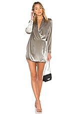 Michelle Mason Wrap Jacket Dress in Silver