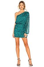 Michelle Mason One Sleeve Mini Dress in Teal Leopard