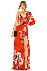 Michelle Mason Asymmetrical Wrap Gown in Cayenne Print