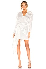 Michelle Mason Long Sleeve Mini Wrap Dress in Ivory