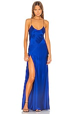 Michelle Mason Bias Gown With Slit in Cobalt