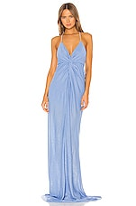 Michelle Mason Twist Gown with Crystal Straps in Ice