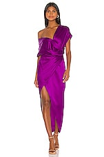 Michelle Mason Wide Neck Wrap Dress in Orchid