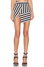 Asym Mini Skirt in Black Stripe