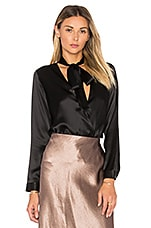 Tie Neck Wrap Blouse in Black