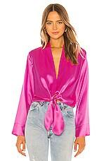 Michelle Mason Kimono Tie Blouse in Pink