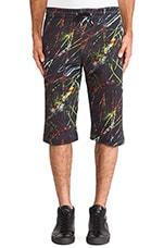 Scratched Jogging Sweat Shorts in Dark Black