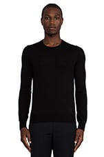 Zip Crew Neck Jumper in Darkest Black