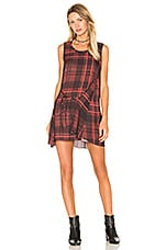 Knot Drape Dress en Red Tartan