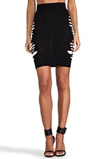 Slashed Knit Skirt in Velvet Black