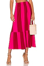 MDS Stripes Knit Skirt in Red & Pink Bold Stripe
