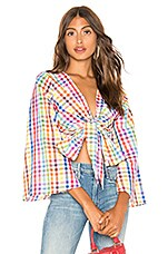 MDS Stripes Everything Top in Rainbow Check