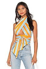 MDS Stripes Everything Scarf in Blue Orange Stripe