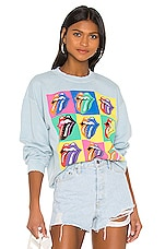 Madeworn Rolling Stones 89 Multi Tongue Sweatshirt in Blue Haze