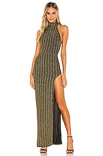 Michael Costello x REVOLVE Penelope Gown in Black & Gold