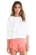 Mariana Rolled Sleeve Sweater in Optic White
