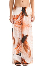 Sheer Silk Drawstring Pant in Flamingo Print