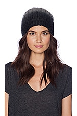 Laced Knit Ombre Slouch Hat in Black