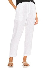 Michael Stars Flynn Single Pleat Trouser in White & Black Stripe