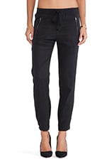 Drawstring Pull-on Pant with Zippers in Black