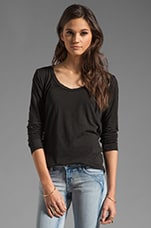 Long Sleeve Scoop Neck Hi-Low in Black