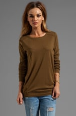 Long Sleeve Slim Crew Neck with Elbow Patches in Army Green