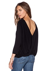 3/4 Sleeve Cross Over Back Top in Black