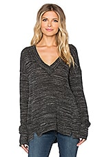 Long Sleeve Deep V Neck Top en Noir