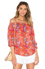 Smocked Off The Shoulder Top en Tomate