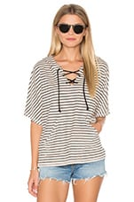Playa Stripe Lace Up Baja Top en Stone