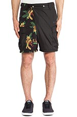 Performance Short Pants in Gothic Olive & Aloha Print