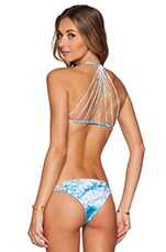 Banyas Multi Skinny String Bikini Top in White Water Oceanic